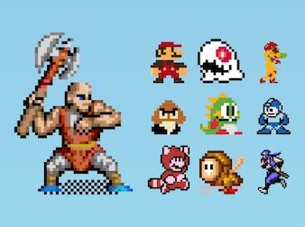 8-bit mega man gaming characters vector
