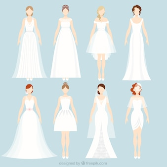 8 different wedding dresses
