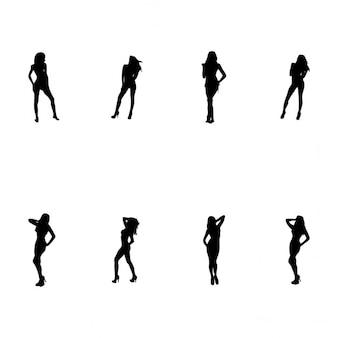 8 women silhouettes