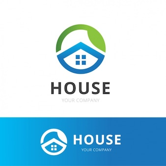 A blue house logo
