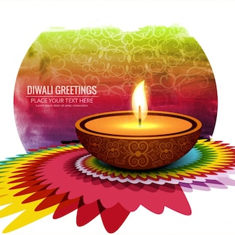 A candle on abstract background for diwali