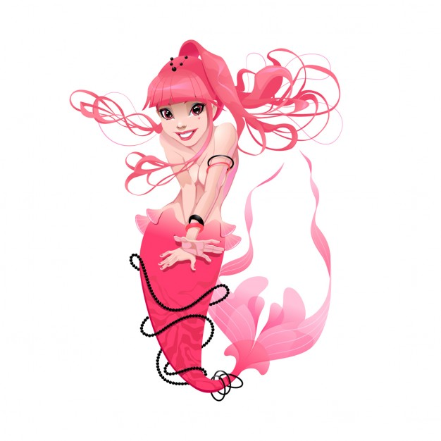 A pink mermaid