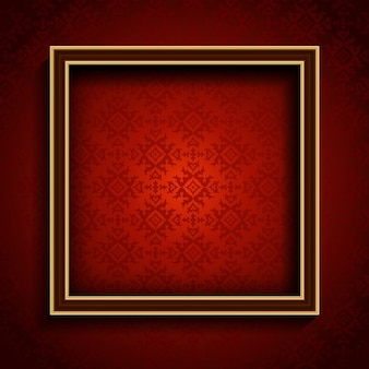 A realistic frame on a red background