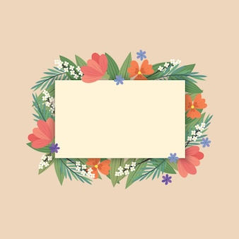 A rectagle label with  florals/ flowers in flat style