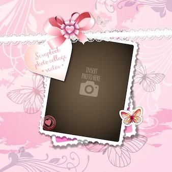 ピンクの背景にロマンチックな設定