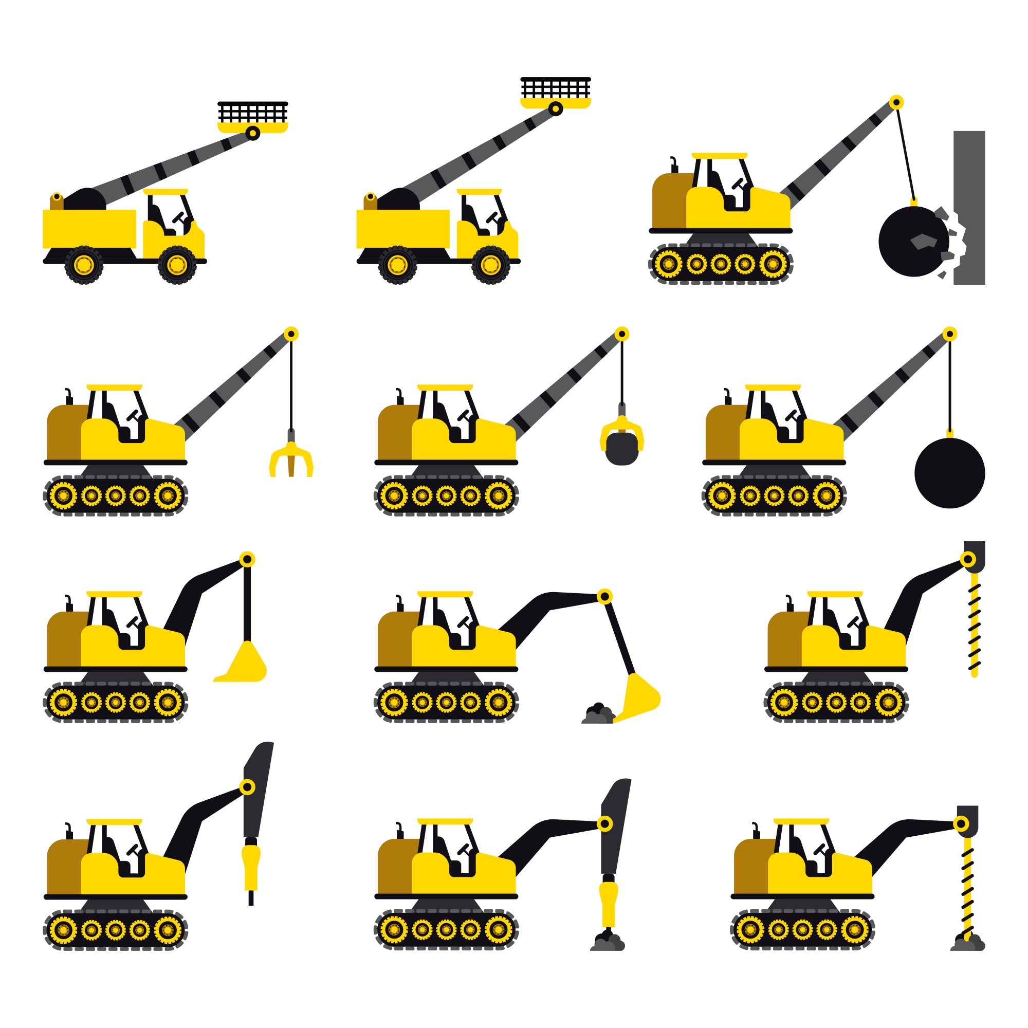 A set of construction vehicles icons in flat style