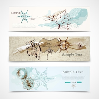 A set of three horizontal ancient nautical design elements informative advertising banners vector illustration