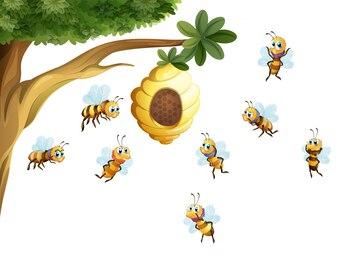 ミツバチに囲まれた蜂蜜の木