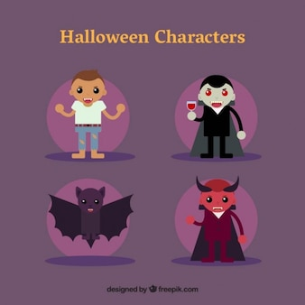 A wolf man,  dracula, a bat and a devil