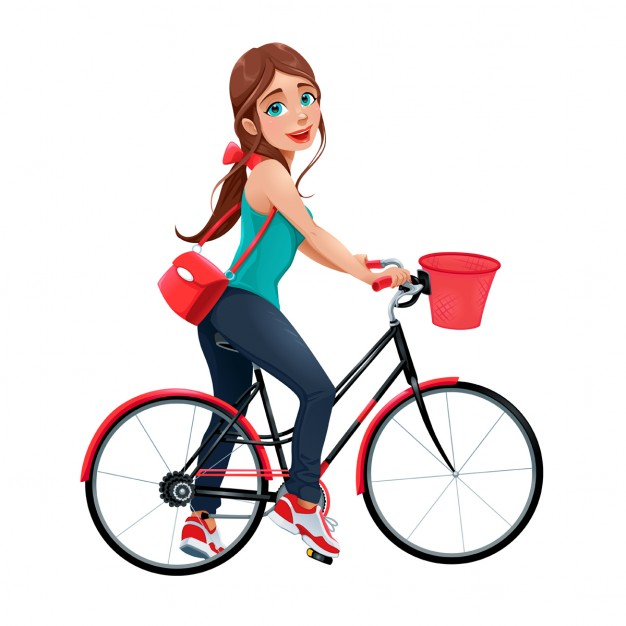 A young girl on a bicycle