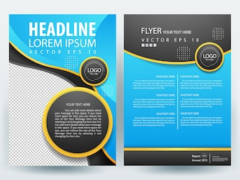 A4 Brochure Layout template  with blue and black circle
