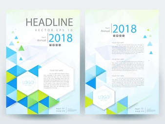 A4 Brochure Layout template with green and blue triangle
