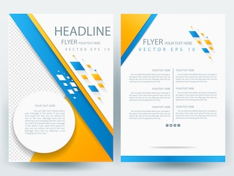 A4 Brochure Layout template  with orange and blue geometric , circle