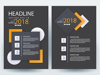 A4 Brochure Layout template  with orange and gray geometric