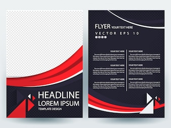 A4 Brochure Layout template with Red line curve