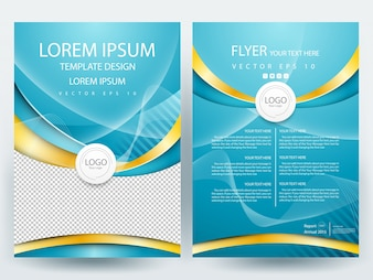 A4 Brochure Layout template  with teal and gold