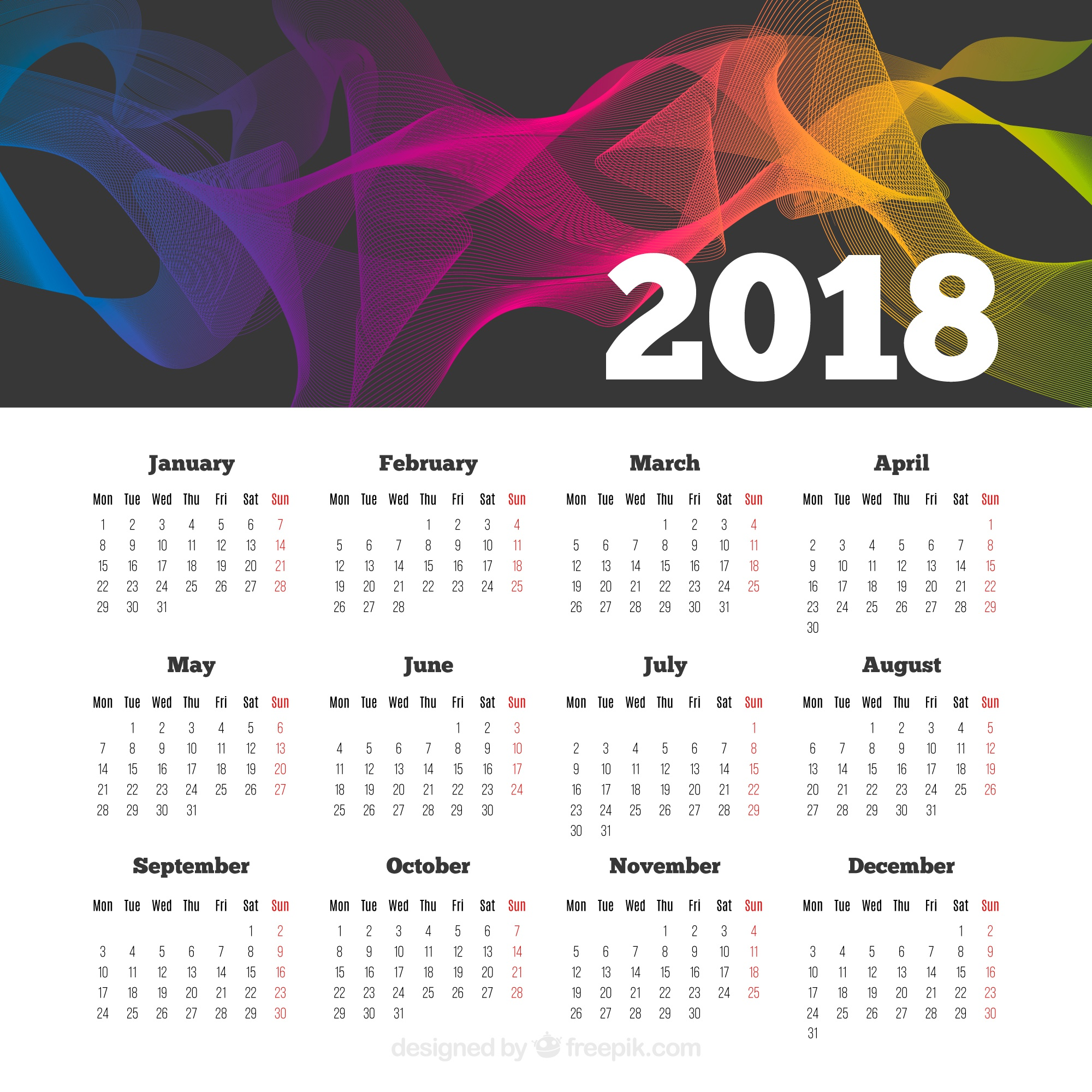 Abstract 2018 calendar with colored shapes