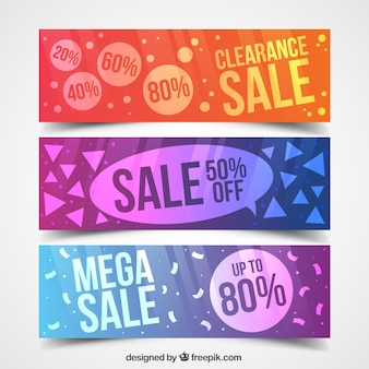 Abstract and colored sale banners