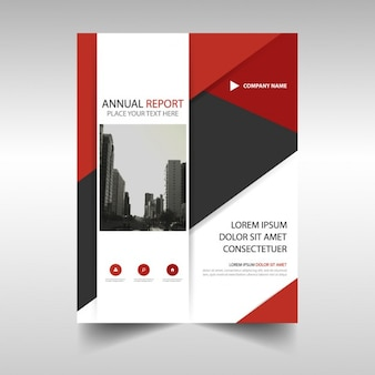 Abstract annual report cover with red details