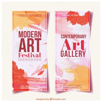 Abstract art gallery banners