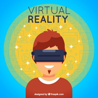 Abstract background boy with virtual reality glasses