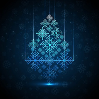 Abstract background elegant christmas tree with snowflakes