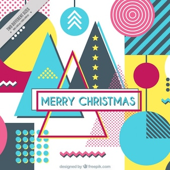 Abstract background in memphis style of merry christmas
