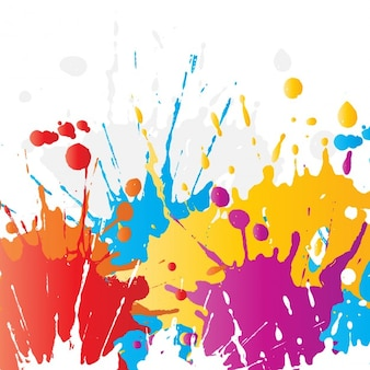 Abstract background of brightly coloured paint splats
