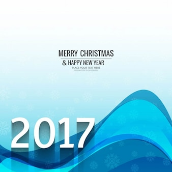 Abstract background of christmas waves and new year 2017
