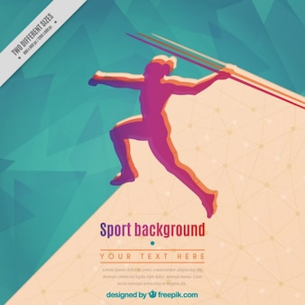 Abstract background of girl practicing javelin