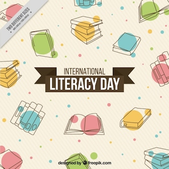 Abstract background of hand drawn books for literacy day