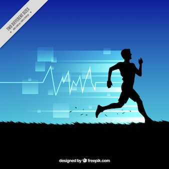 Abstract background of man running silhouette