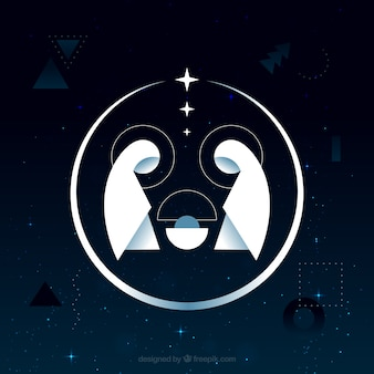 Abstract background of nativity scene in flat design