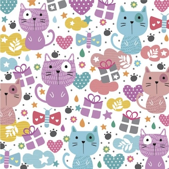 Abstract background with cute cats