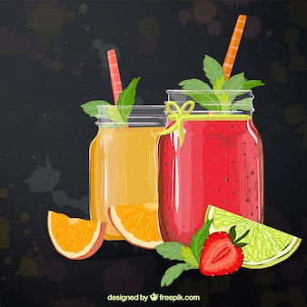 Abstract background with delicious fruit juices