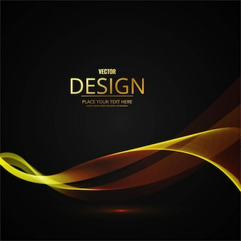 Abstract background with golden wavy shapes