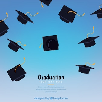 Abstract background with graduation caps