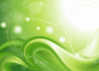 Abstract background with green curves.
