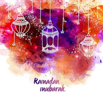Abstract background with lanterns hanging for ramadan mubarak