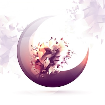 Abstract background with moon and geometric shapes