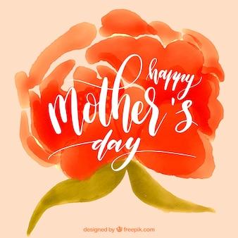 母の日のための赤い花と抽象的な背景