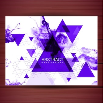 Abstract background with triangles and purple ink stains