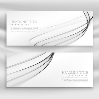 Abstract banner with gray wavy lines
