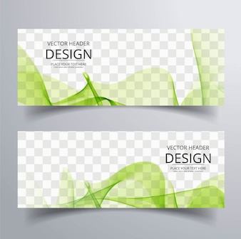 Abstract banner with green wavy shapes