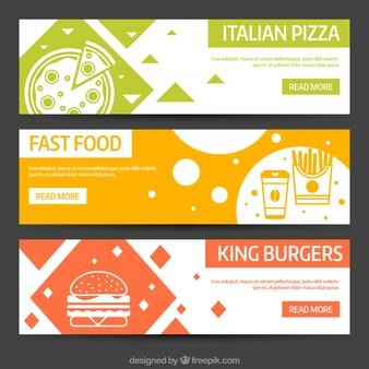 食品の異なるタイプの抽象バナー
