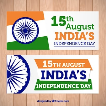 Abstract banners of india independence day with ashoka chakra