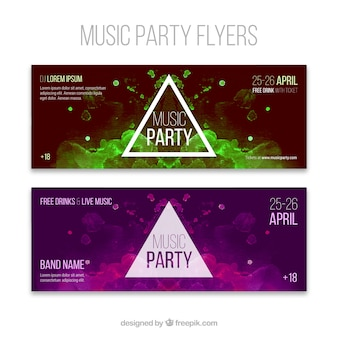 Abstract banners of music party with a triangle