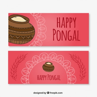 Abstract banners of typical happy pongal elements
