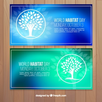 Abstract banners of world habitat day