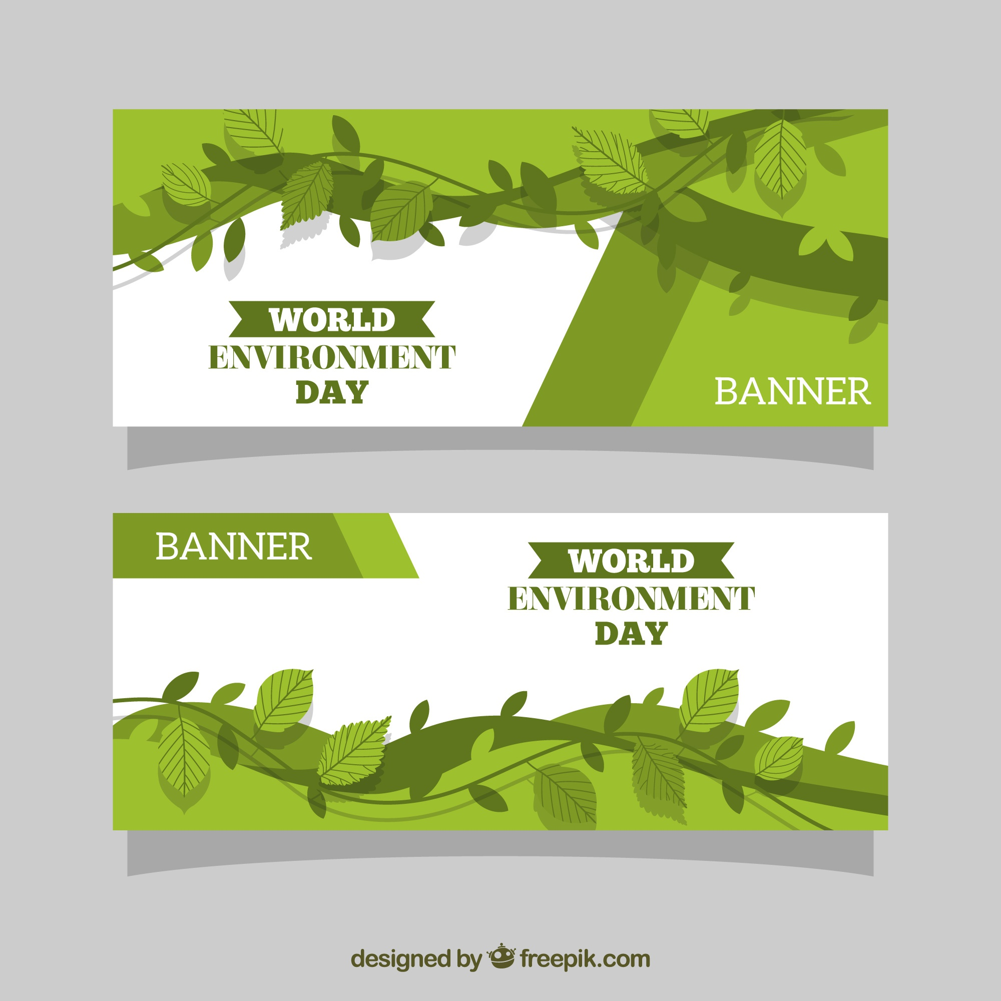 Abstract banners with leaves